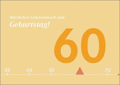 Kartenkaufrausch Moderne zonnige verjaardagskaart voor 60e verjaardag: Hartelijk felicitatie voor verjaardag. • Mooie wenskaart met envelop voor beste vrienden en lievelingsmensen.