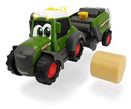 Dickie Toys Happy Fendt Hay Baler, Traktor mit Ballenpresse und Heuballen, Heuballen dreht sich in der Presse, Traktor für Kinder ab 1 Jahr, Trecker, Bauernhof Spielzeug, Licht & Sound, 30 cm