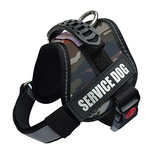Albcorp Service Dog Vest Harness - Reflective - Woven Nylon, Adjustable Service Animal Jacket, with 2 Hook and Loop Removable Patches, XS, Green Camo