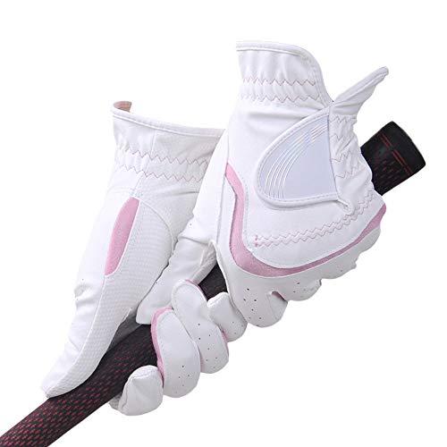 Guantes de Golf para Mujer Guantes Guantes de las mujeres de las mujeres guantes de golf blanca a dos manos Deportes engranaje protector Accesorios Proporcionar guantes antideslizantes estables Guante