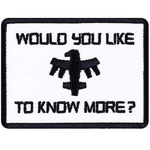 Aufnäher: Would You Like to Know More Aufbügler bestickter Gamer Patch Starship Troopers Film Bügelbilder Biker Sticker zum aufnähen Adler Patriot Applikation für Jacken/Jeans/Taschen 60x80mm