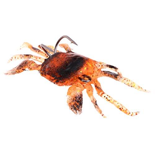 Cuigu attirail de pesca–señuelo suave cangrejo Artificial gancho Fish Lure Pesca Accesorios Herramientas se attaquer, naranja, 3.15''