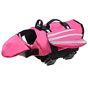 Malier Dog Life Jacket, Unique Wings Design Pet Flotation Life Vest for Small, Middle, Large Size Dogs, Dog Lifesaver Preserver Swimsuit with Handle for Swim, Pool, Beach, Boating (L, Pink)