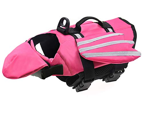 Malier Dog Life Jacket, Unique Wings Design Pet Flotation Life Vest for Small, Middle, Large Size Dogs, Dog Lifesaver Preserver Swimsuit with Handle for Swim, Pool, Beach, Boating (XS, Pink)