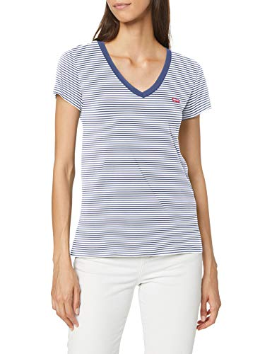 Levi's Vneck Camiseta, Annalise Stripe Blue Indigo 1, M para Mujer