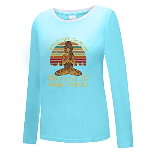 MNLOS Casual Mujer Cuello Redondo Suelto Manga Larga Yoga Chica Camiseta Estampada Camisa básica Blusa…