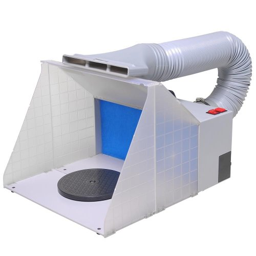 AW Portable Airbrush Paint Spray Booth Kit with Turn Table Extension Hose Powerful Fan for Painting Art Toy Parts Model Cakes Hobby