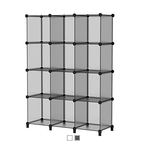 SIMPDIY Storage Cubos modulares 12 Cubos Gris (124x93x30cm) Organizador portátil de plástico Estantería Estante Estante…