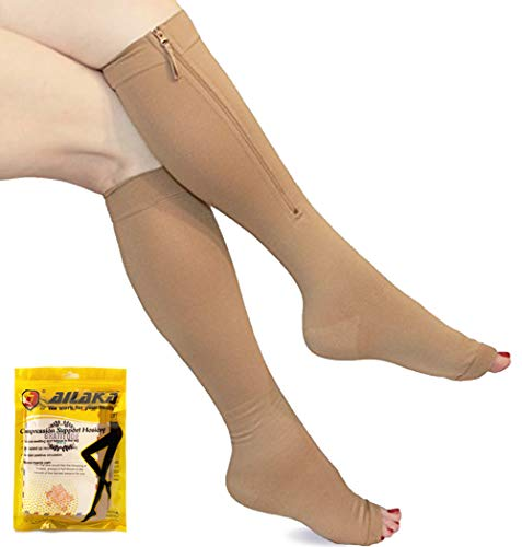 Ailaka Medical Zipper Compression Calf Socks 20-30 mmHg for Women & Men, Plus Sizes Knee High Open Toe Firm Support Graduated Varicose Veins Hosiery for Edema, Swelling, Pregnancy, Recovery