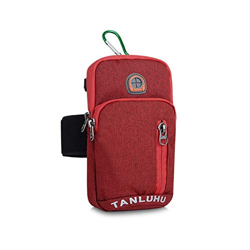 YuYzHanG Arm-Beutel Universal Bounce Gym Armbands Telefonhalter Tasche mit Kopfhörerloch für iPhone Galaxy Huawei Sport-Arm-Beutel (Farbe : Rot)