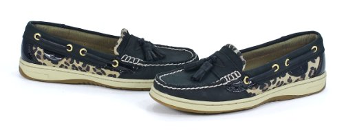 Sperry Top-Sider Women's Tasselfish Black/Leopard Boat Shoe 6 M (B)