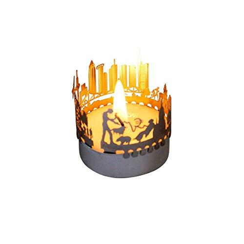 13gramm Frankfurt-Skyline Windlicht Schattenspiel Souvenir, 3D Edelstahl Aufsatz für Kerze inkl. Karte