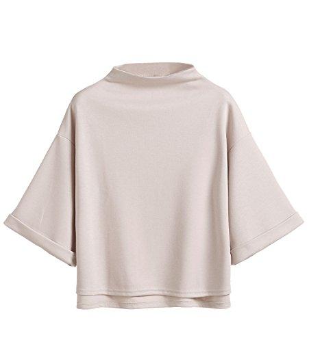 SweatyRocks Women's 3/4 Sleeve Mock Neck Basic Loose T-Shirt Elegant Blouse Top (X-Large, Apricot)