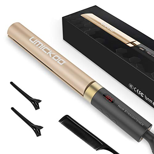 Haarglätter UMICKOO Reise Glätteisen und lockenstab in einem mit 25mm Turmalin Keramik Platten, LCD-Display Temperatur,120-230 ℃(Golden)