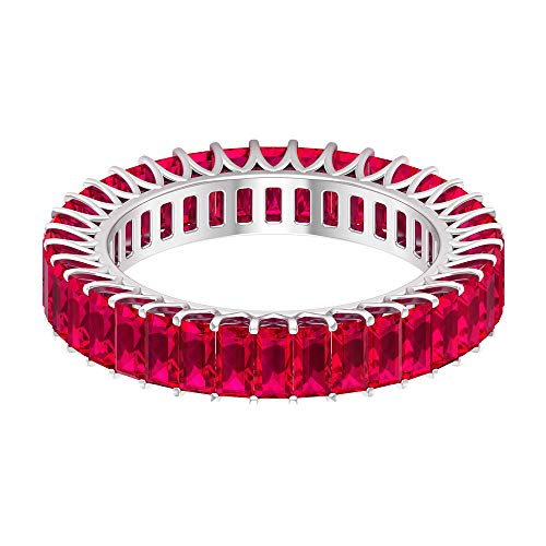 Rosec Jewels 14 quilates oro blanco baguette Red Ruby