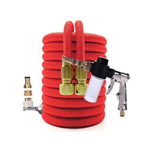 Release Watering Irrigatie Flexibele Uitbreidbare Slangtuin Pijp met Spray Water Pistool Hogedruk Car Wash Reinigingsgereedschap (Color : Red, Size : 100FT)