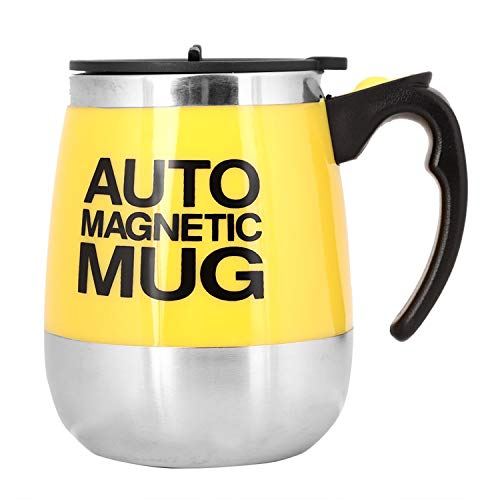 Fdit Magnetic Mixing Mug Self Stirring Coffee Cup Stainless Steel Self Magnetic Cup for Coffee Tea Hot Chocolate Milk Cocoa Protein, Plastic Stainless Steel, yellow