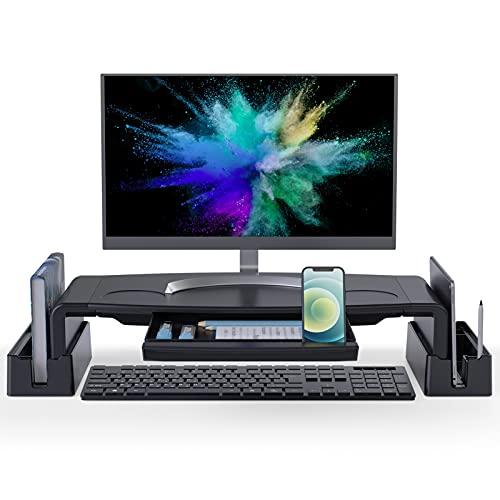 COKWEL Soporte de Monitor con Alturas Ajustables Monitor Elevador Mesa con Organizador para Almacenamiento, para Monitor de PC Ordenador portátil Impresora de Oficina Alivia el Dolor de Cuello-Negro