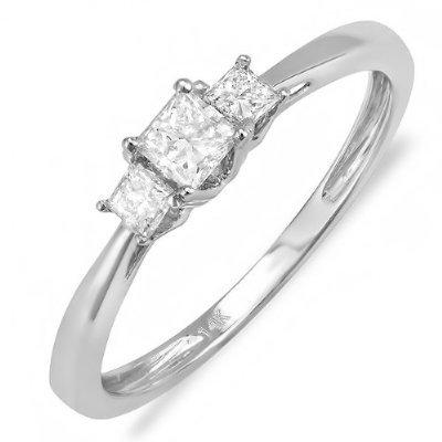DazzlingRock - Anillo de compromiso de oro blanco de 14 quilates con diamantes de princesa para mujer, 3 piedras de compromiso, 1/2 (0,50 quilates, color F-G-H, claridad Si-I)