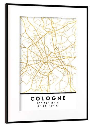 artboxONE Poster mit Rahmen Schwarz (Metallic) 45x30 cm Cologne Germany Street MAP Art von Emiliano Deificus