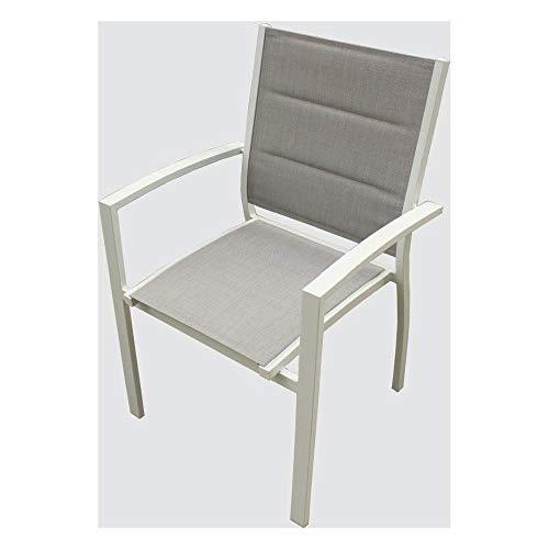 Amicasa. Sedia da Esterni Impilabile con Braccioli in Alluminio e Tessuto Colore Bianco LS-TC-804 Karim