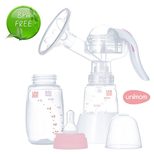 Unimom Manual Breast Pump with Soft Silicone Massaging Breast Shield – Ergonomic Rubber Handle -...