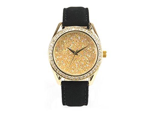'Bella joya Mujer Reloj Paris, funkelnde Glamour de Reloj, Goldenes Caja, Joyas Brillantes, Correa de Piel auténtica Terciopelo Efecto