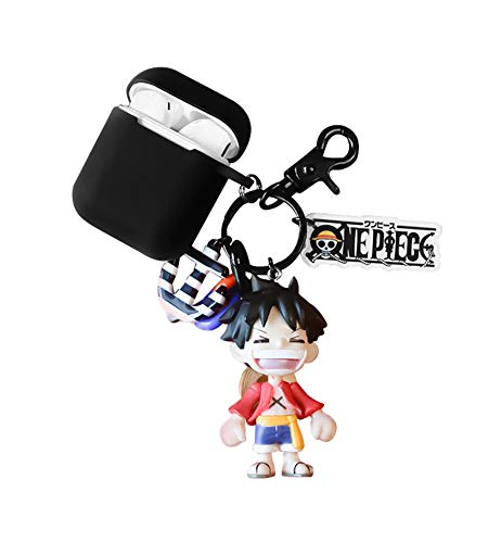 YJacuing Anime One Piece Luffy Figure Keychain with AirPods 1 & 2 Protective Case Cover (Black II)