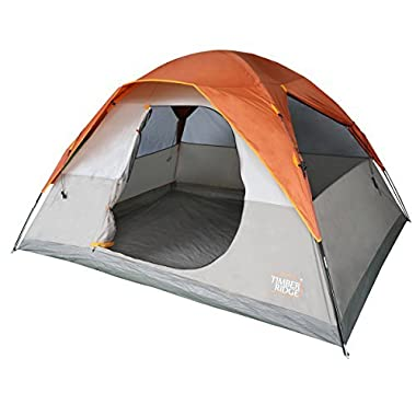Timber Ridge 6 Person Family Camping Tent D-Shape Door 3 Seasons with Carry Bag and Rain Fly