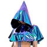 Glitter Hooded Cloaks for Women, Sparkly Hooded Cape Halloween Costumes Vampire Witch Cape Accessories (Blue, One size fit most)