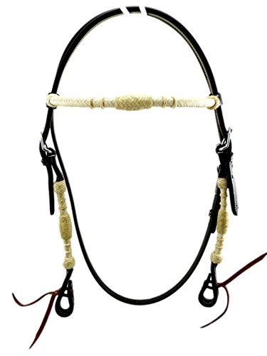 Thor Equine Kopfstück Jayden Westerntrense mit Rohhaut umflochten, Schwarz Cob