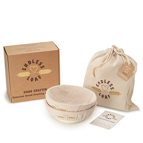 Banneton Bread Proofing Basket Round 9 inch Set of 2 with 2 Linen Liners and 3 Linen Bread Bags Dough Proofing Bowl for Artisan Sourdough Bread Making, Bread Baking Tools Kit Best Gifts for Bread Bakers