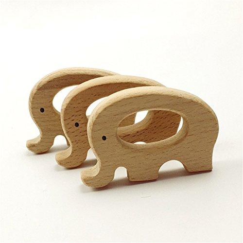Mamimami Home 10 STÜCKE Baby Holz Beißring Elefanten Tiere Geformt Anhänger Food Grade DIY Schmuck Halskette Baby Spielen Gym Montessori Spielzeug Für Kinderkrankheiten (Elefanten)