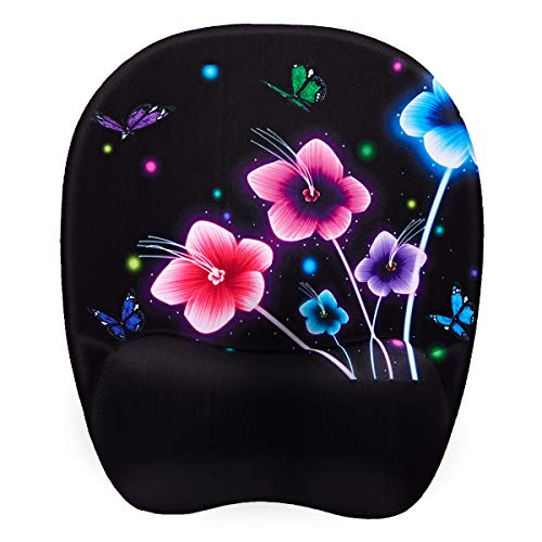 Ergonomic Mouse Pad, Memory Foam Mouse Pad with Wrist Rest Support, Gaming Mouse Pad with Lycra Cloth, Non-Slip PU Base Ergonomic Design for Laptop ,Desktop Computer (Luminous Flowers)