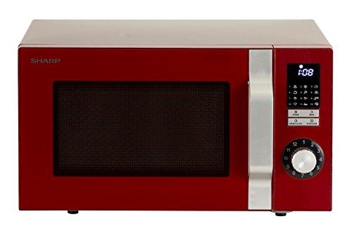SHARP, microonde, 48,3 cm di larghezza, 900 W, capacità di 25 l, display a Led, con funzione Grill, colore rosso Rot