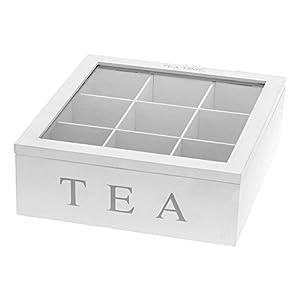Emako Boîte à thé en bois avec 9compartiments et couvercle en verre