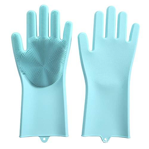 Siliconen handschoenen, reinigingshandschoenen van silicone, herbruikbaar, hittebestendig en waterbestendig, reinigingshandschoenen, huishoudelijke reiniging, vaatwasser, onderhoud van dierenharen