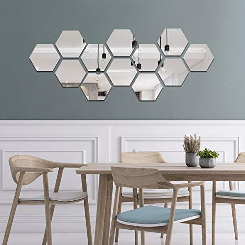 decalmile 12 Stück 3D Spiegelfliesen Wandaufkleber DIY Spiegel Aufkleber Schlafzimmer Wohnzimmer Badezimmer Dekoration (Hexagon, Silber)