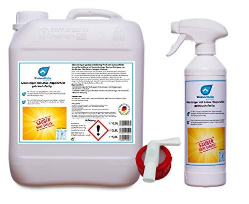 KaiserRein Profi Glasreiniger mit Lotuseffekt Spray 0,5 L Leerflasche + 5 L Kanister & Hahn Fensterreiniger gebrauchsfertig