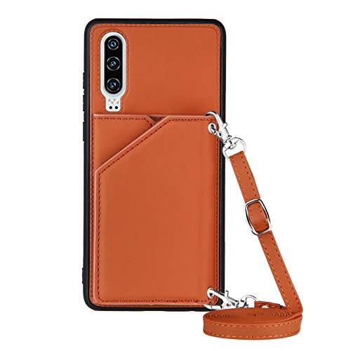 Funda para Huawei P30 con Cuerda, Carcasa Cuero Premium PU Suave Case con Correa Colgante Ajustable Collar Correa de Cuello Cadena Cordón Ranuras para Tarjetas Anti-Choque Cover, Marrón