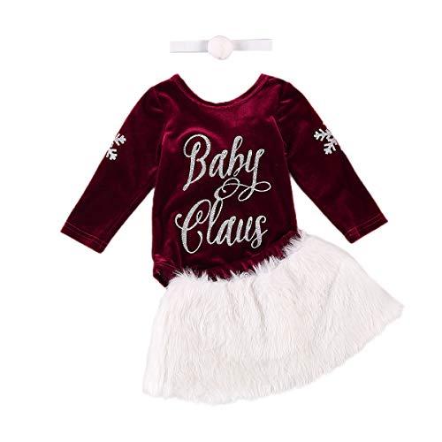 Completino Neonata Invernale per Natale Capodanno 3 Pezzi Pagliaccetto a Maniche Lunghe Stampato Baby Claus + Gonna in Peluche Bianco + Fascia 0-24 Mesi (Rosso+Bianco, 6-12 Mesi)