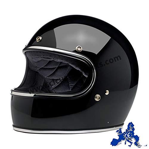 Biltwell - Casco Gringo integral de motorista, negro brillante, doble homologación ECE (Europa) y DOT (Estados Unidos), vintage, retro, años 70 M Negro