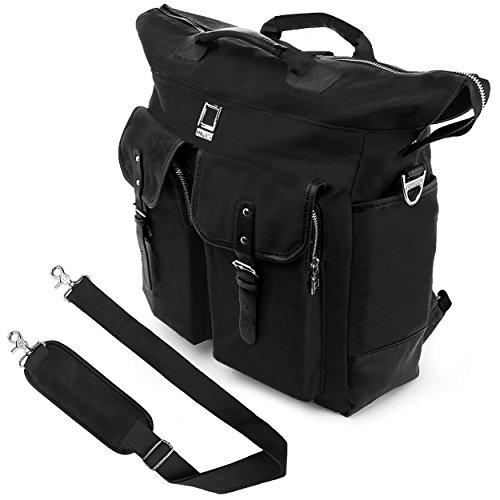 Universal Hybrid 3 in 1 Design Carrying Tote Messenger Crossbody Backpack Shoulder Bag for Macbook Pro 15.4, Acer, ASUS, Dell, Samsung, HP, Lenovo, Toshiba, MSI, Black