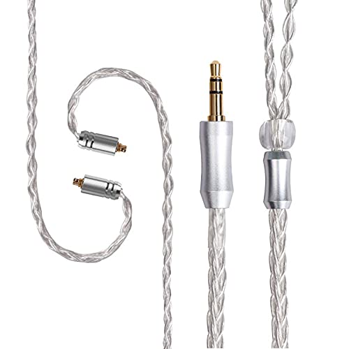 FEDAI Audio Cable 8 Core Upgrade Silver Plated Replacement Cable, MMCX Cable Detachable Earphone Cable Replacement Earphone Wire for Shure 846 535 215 315 425 MAGAOSI K5 LZA4 A5 (3.5mm, MMCX)