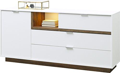 CS Schmal Lowboard MY ELL | In Weiß und Stirling Eiche | 176 x 81 x 43 cm | 56.012.584/20
