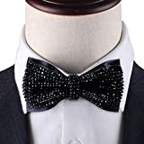 Black Crystal bow tie for men, 2 layers...