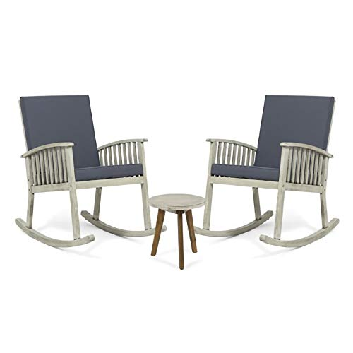 Noble House Alametos 3 Piece Outdoor Acacia Wood Rocking Chair Set in Gray