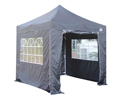 All Seasons Gazebos 2.5 x 2.5m Heavy Duty, Fully Waterproof Pop up Gazebo With 4 Premium Side Walls (Black)