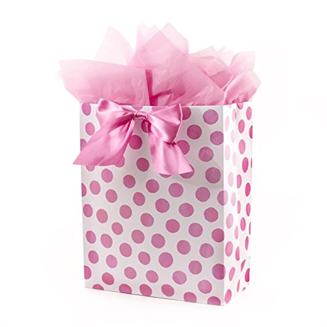 Hallmark Extra Large Gift Bag with Tissue Paper for Birthdays, Baby Showers, Bridal Showers and More (Pink Polka Dots and Bow)
