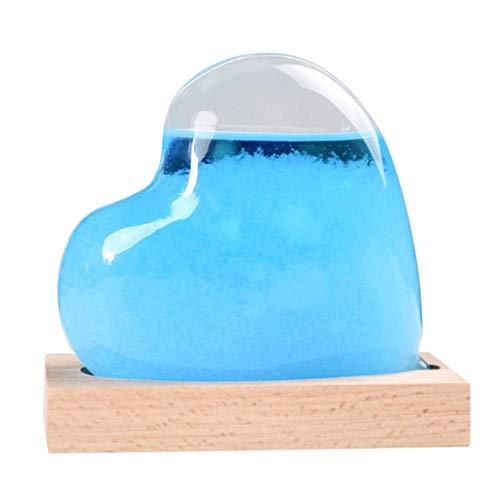EDCV Weerstation Transparant glas Waterdruppel Weer Stormvoorspelling Voorspeller Weervoorspeller Hartvorm Glazen fles Desktop, blauw